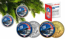 NEW YORK GIANTS Christmas Tree Ornaments JFK Half Dollar US 2-Coin Set NFL