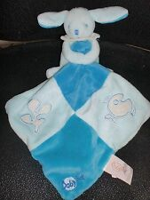 Doudou plat lapin mouchoir bleu poisson luminescent brille BABY NAT' babynat