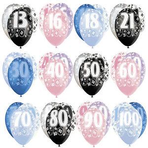 "6 x 12"" Birthday Glitz Pearlised Latex Party Balloons Pink Blue Black 13th-100th"
