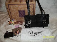BRIGHTON BLACK BUBBLES HAND BAG W/BOX & COIN PURSE RET $210 NICE MUST SEE & BUY