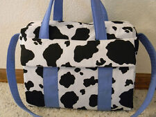 Cow print blue custom handmade Diaper Bag w/chg pad by Emijane free embroidery