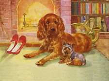 COCKER SPANIEL & YORKSHIRE TERRIER SIT BY FIRESIDE CUTE DOG GREETINGS NOTE CARD