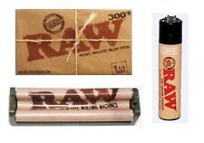 RAW 300's Classic Rolling Papers+ RAW 79mm Hemp Plastic Roller Machine + LIGHTER