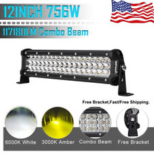 12INCH 756W CREE LED Work Light Bar Spot Flood Combo Offroad Pickup Van ATV 12V