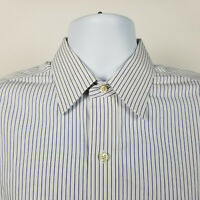 Brooks Brothers Non Iron Traditional Fit Mens Blue Striped Dress Shirt 15.5 - 33