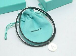 """Tiffany & Co. Silver Alphabet """"A"""" Round Charm Pendant Rubber Necklace"""