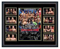 WWE SUPER SHOW-DOWN 2018 AUSTRALIA REIGNS ROLLINS CENA SIGNED FRAMED MEMORABILIA