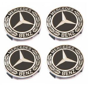 4X Alloy Wheel Centre Caps For Mercedes Benz 75mm Badges Hub Emblem A C E G S