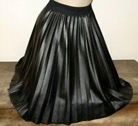 jupe taille unique plissée cuir simili longue noir pleated skirt os 571!