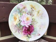 "Antique / Vintage Hand Painted Signed Roses Porcelain 12 3/8"" Disc"