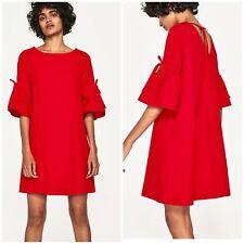 Zara Red Mini Dress With Ruffle Sleeves Size S - SMALL - UK 8 - BNWT