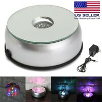 7 LED 3D Crystal Trophy Laser Rotating Electric Light Stand Base Display