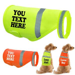 Reflective Hi Vis Viz Dog Harness Night Safety Dog Vest Coats & Customised Name