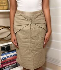 Pre-Owned Women's Anthropologie Girls from Savoy Origami Pencil Skirt, Tan, Sz 2