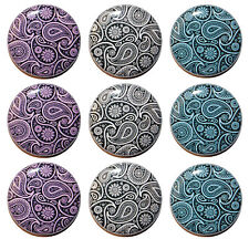 """9 x PAISLEY PATTERNED Fridge Magnets (1""""/25mm) - Made in UK - GIFT & KITCHEN"""
