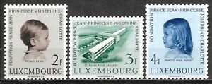 1957 LUXEMBOURG Complete set of 3 MLH Stamps (Scott # 326-328) CV $6.50