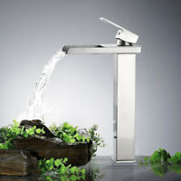 Bathroom Basin Vessel Sink Faucet Waterfall Spout Tall Countertop Brushed Nickel