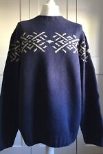 Timberland Hand Knit Jumper Size XL Navy 100% Lambswool Long Sleeve Crew Neck