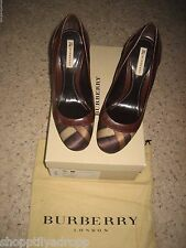 Burberry Womens Trench Check Silk Pump Heel Shoes