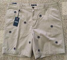 CHAPS Mens Size 42 Hudson Tan Khaki Casual Shorts Nautical Compass Embroidery