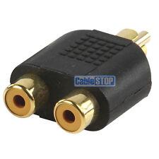 De Phono RCA Adaptador 1 X Macho Plug A Twin 2 X Hembra Sockets Y Splitter Oro