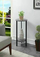 Plant Stand Shelves Display Storage Indoor Living Room Weathered Gray Black Wood