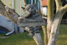 Gartendrache Willkommen zum hängen - MystiCalls - GD-249 - Gartenfigur Deko