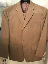 Jos A. Banks Mens Tan Khaki 39 34x30 Cotton 3 Button Slim Suit Great Condition