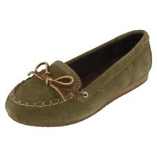 Ladies  CASKA MOC size 3.5  green suede flat slip on By Timberland