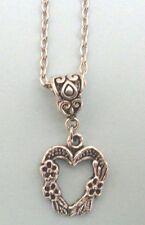 collier chaine argenté 46,5 cm avec pendentif coeur fleur 20x17mm