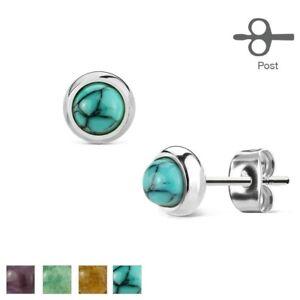 Pair of Semi-Precious Stone Stainless Steel 6mm Stud Earrings - Choose Colour