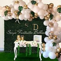 114X White&Gold Latex Balloon Arch Kit Tropical Palm Leaves Wedding Party Decors