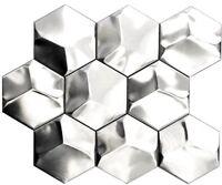 Mosaik Fliese Hexagonal 3D Stahl gestrichen Wand Art: 129-HXM20SD_b   1 Matte