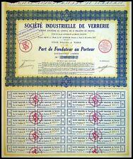 Société Industrielle de verrerie, par de fondateur au Porteur 1929 - N°005874
