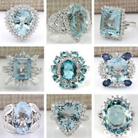 Large Women Men Aquamarine 925 Silver Filled Ring Engagement Jewelry Size 6-10