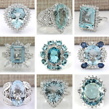 Large Women Men Aquamarine 925 Sterling Silver Ring Engagement Jewelry Size 6-10