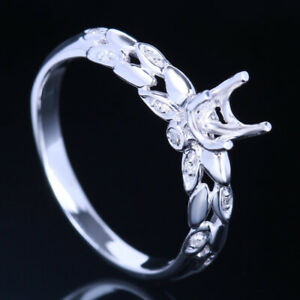 5MM ROUND SOLID 14K WHITE GOLD ENGAGEMENT WEDDING RING GRAIN SHAPED SETTING