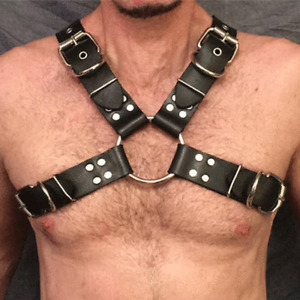 Men Male Leather Bondage Body Chest Harness Strap Belt Brace Costumes Gay Buckle