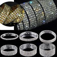 Damen Armband Strass Stretch Armreif Armkette Silber Hochzeit Party Schmuck
