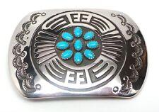 Navajo Handmade Sterling Silver Turquoise Belt Buckle -Rosco Scott