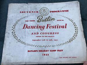 Butlin's Filey Bay 1953 Annual Dance Festival Programme Filey