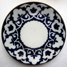 Ancien grand plat rond de Russie, porcelaine blanche, décor bleu à filets dorés