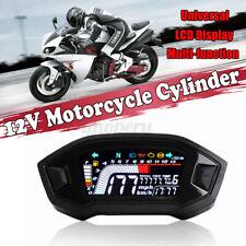 Universal Motorcycle Digital LCD MPH Kmh Odometer Speedometer Tachometer Gauge
