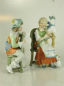 DEP GERMANY Renaissance FIGURINES 11588 Man Woman Lady Sitting Chair Hand Paint