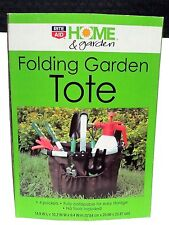 Folding Garden Tote Brown - 4 Pockets - Fully Collapsible For Easy Storage - Nos
