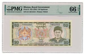 BHUTAN banknote 20 Ngultrum 1981 PMG MS 66 EPQ Gem Uncirculated