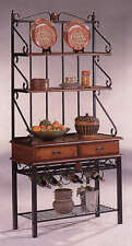 Kitchen Bakers Rack with Wine Storage Rack in Dirty Oak by Coaster - 5424