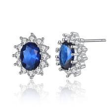 Sapphire Garnet CZ Silver Women Jewelry Fashion Handmade Stud Earrings FH8410-11