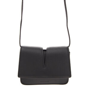 RRP €920 JIL SANDER Leather Flap Crossbody Bag Black Cut Out Top Made in Italy