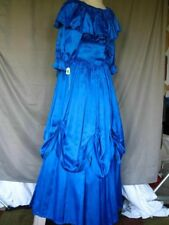 Victorian Edwardian Civil War Style Royal Blue Satin Formal Gown Dress Dickens
